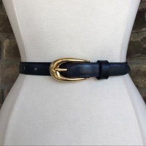 Vintage Belt Leather Navy Blue Gold Buckle L
